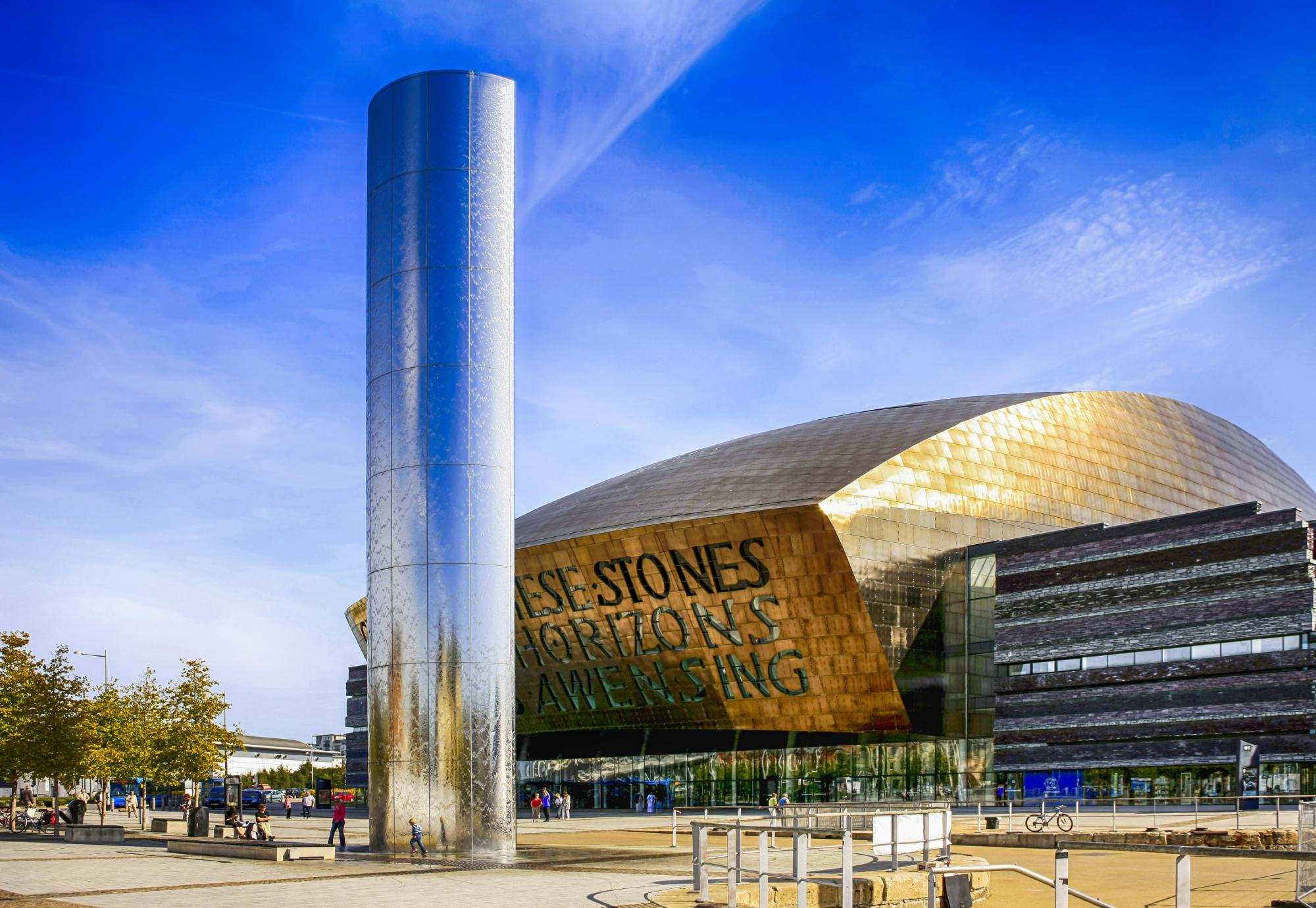 The Wales Millenium Centre building and Torchwood column in Cardiff.