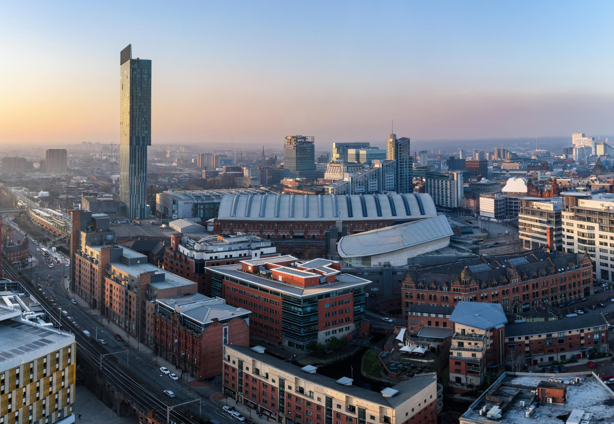 Aerial shot of Manchester city centre