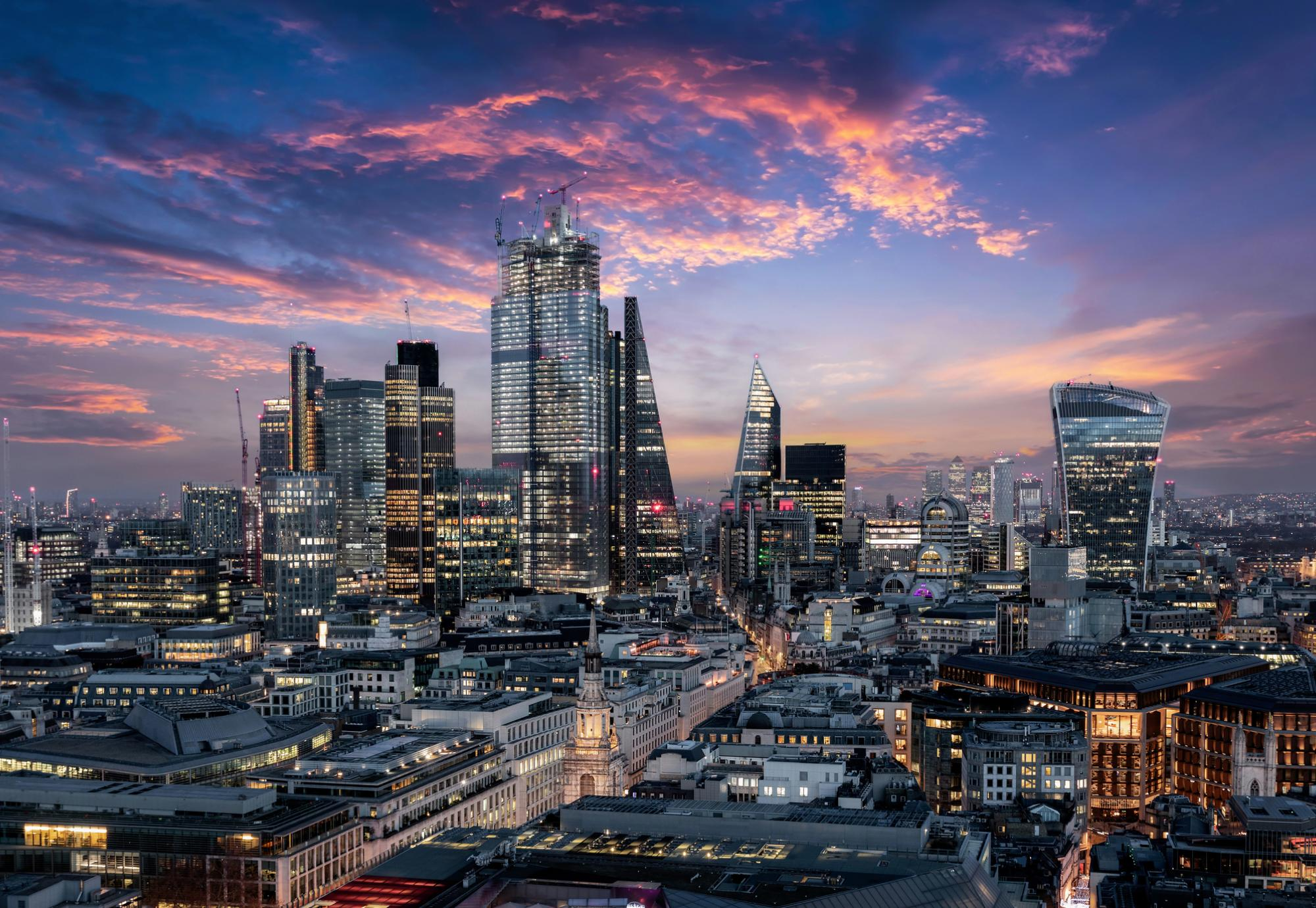 Picture of London's financial district at night.