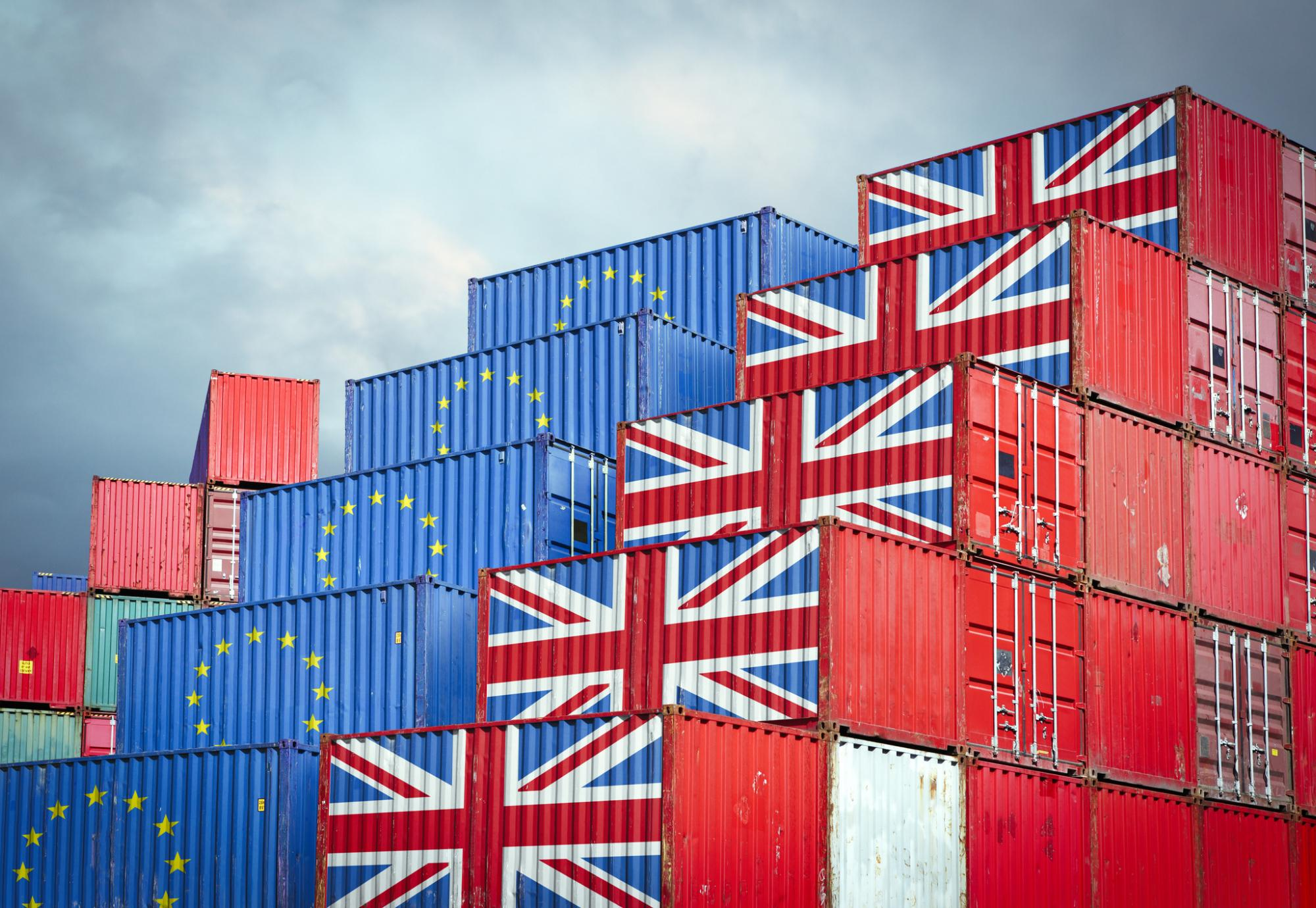 Storage containers representing EU and UK imports and exports.