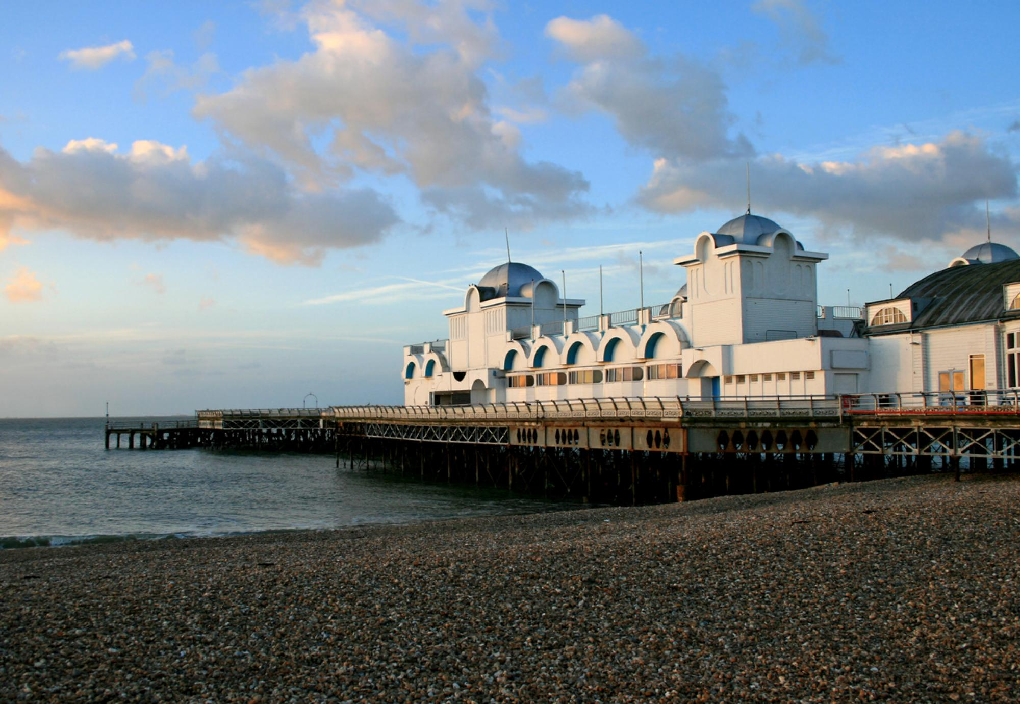 Southsea Pier and beach in the early morning.