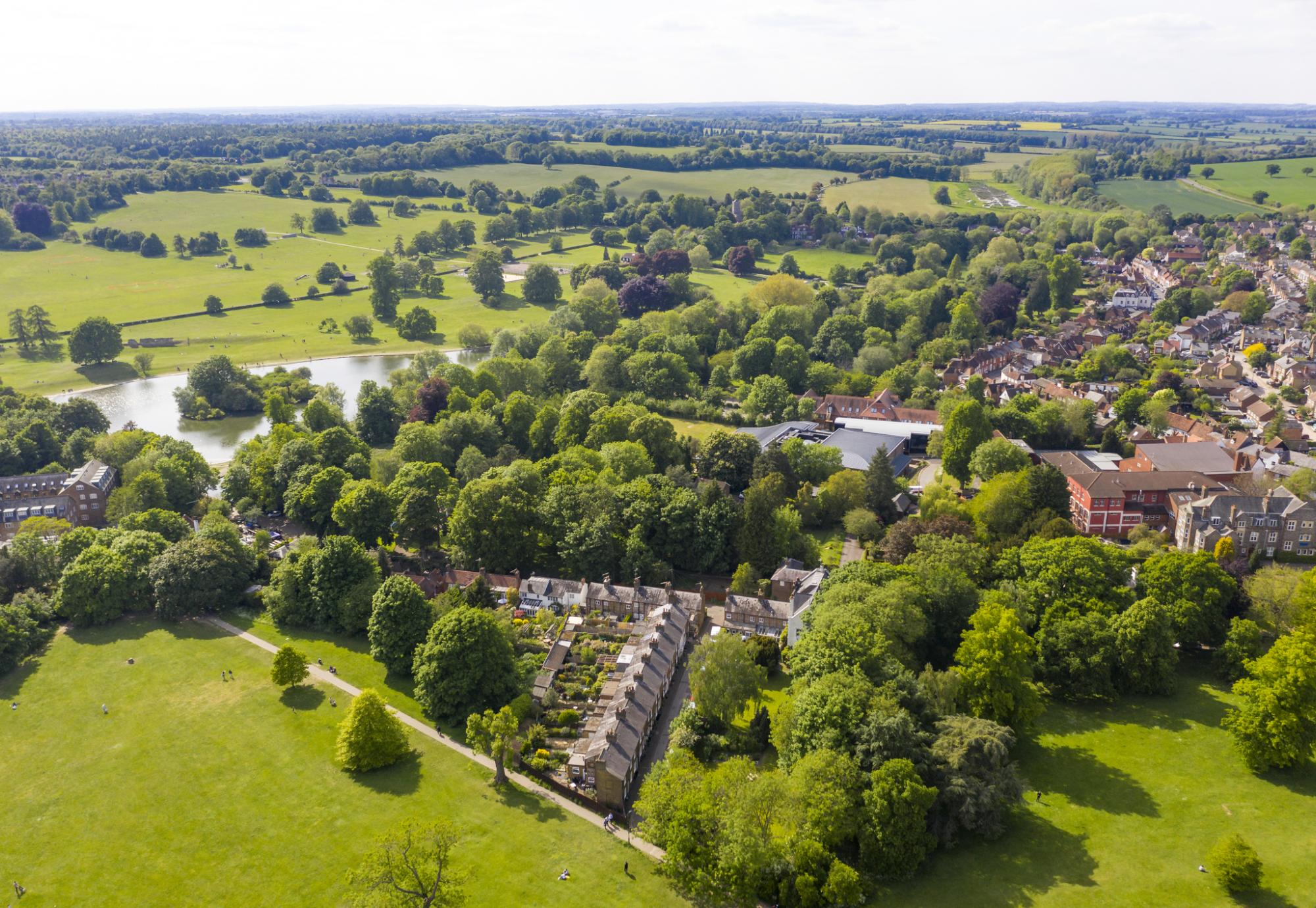Aerial view of St Albans in Hertfordshire