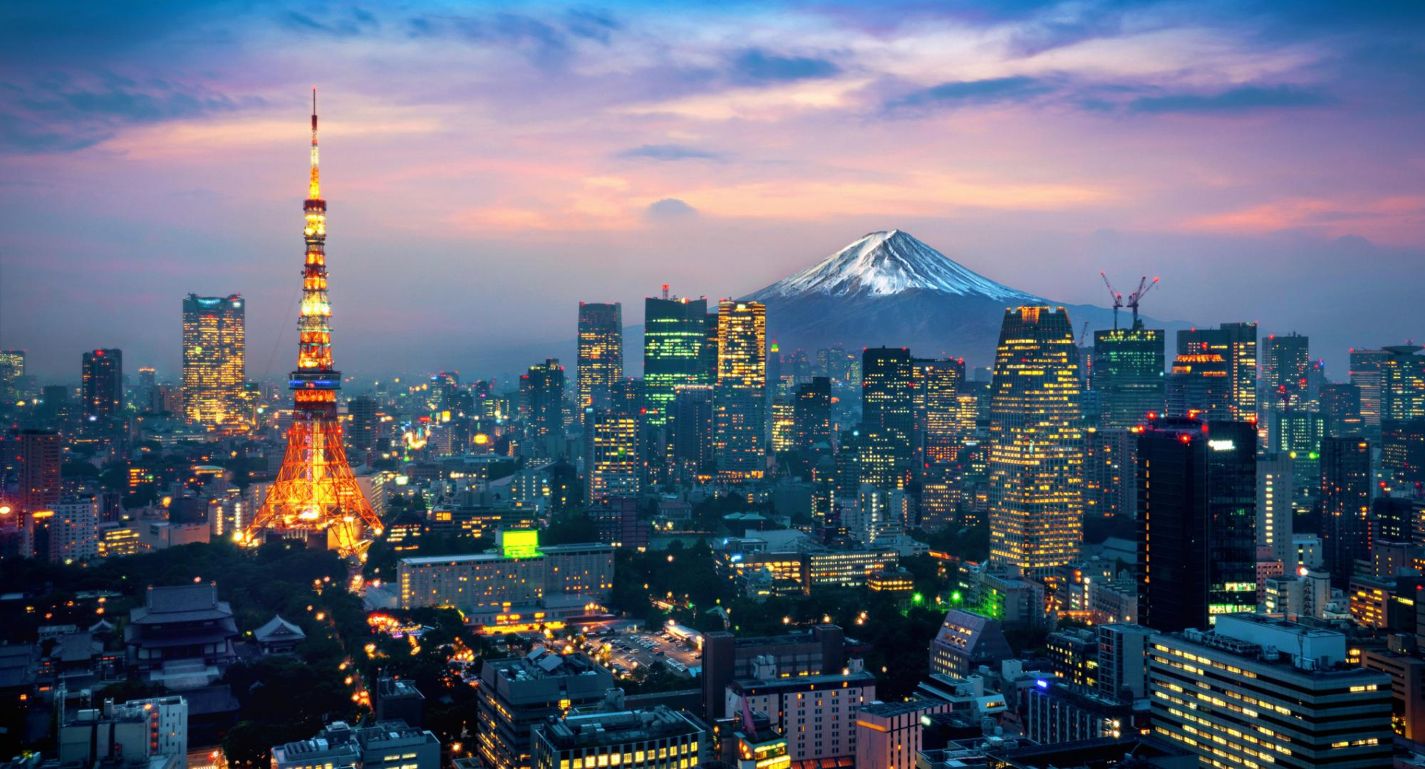 Picture of Japanese cityscape with Mt Fuji in background.