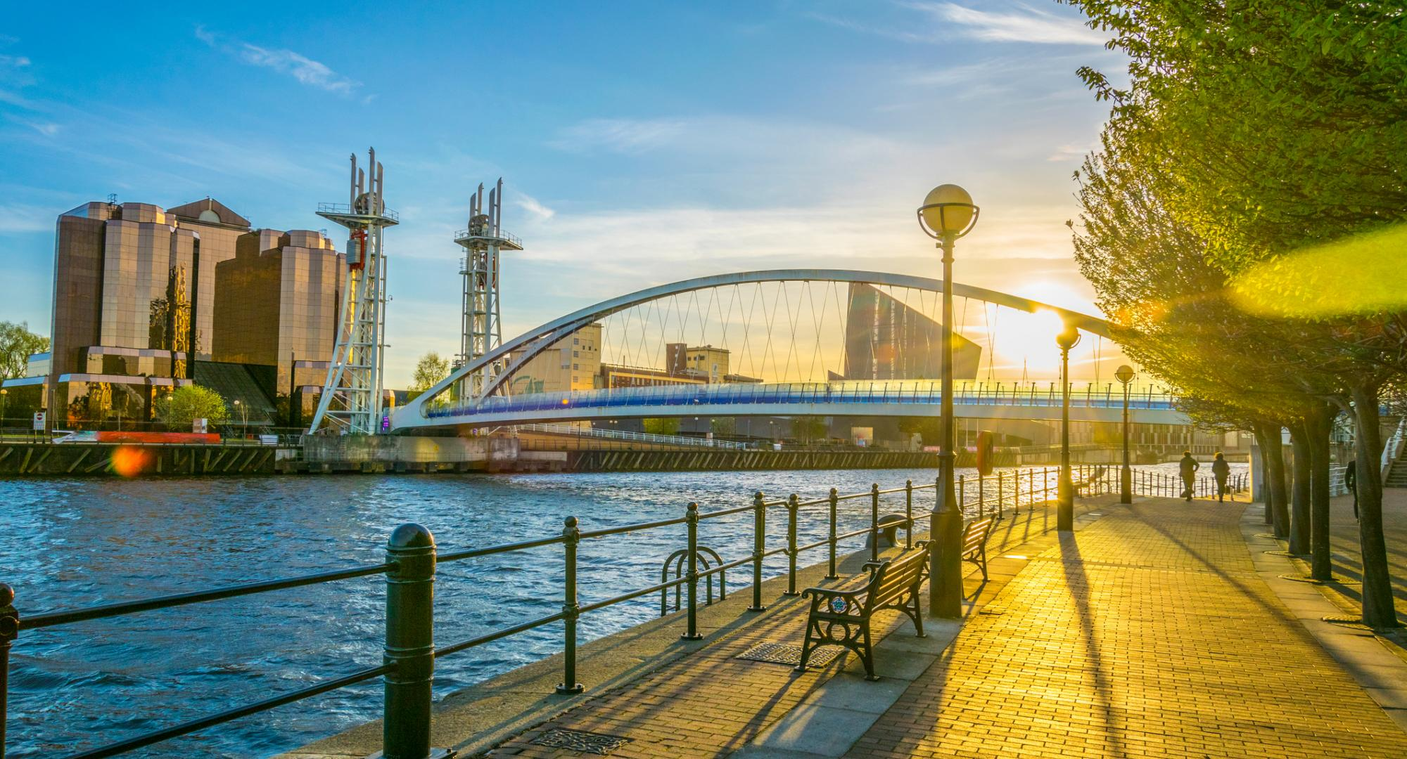 A picture of Salford Quays taken during golden hour.