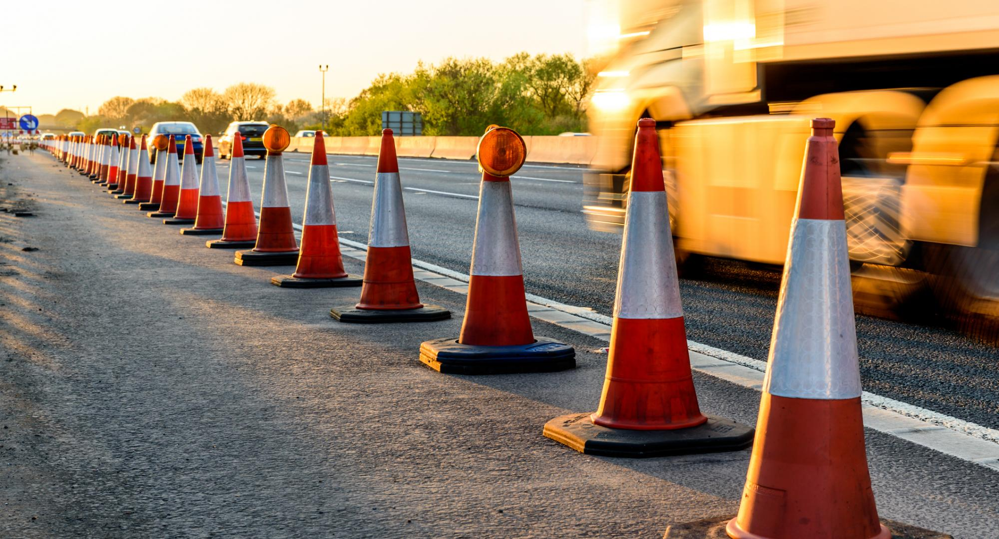 Traffic cones on the side of the road