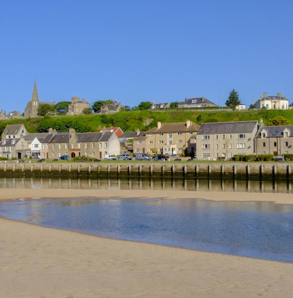 Lossiemouth, a coastal town and a port located along the estuary of the river Lossie on the Moray Firth, Scotland.