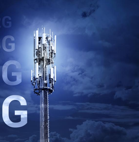 Mobile telephone  mast with 5G text