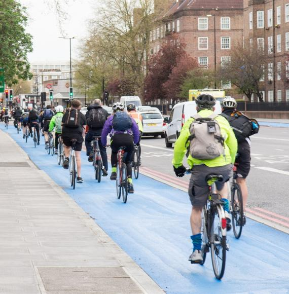 Cyclists in a cycle lane