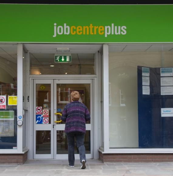Woman walks into Job Centre Plus looking for a job.