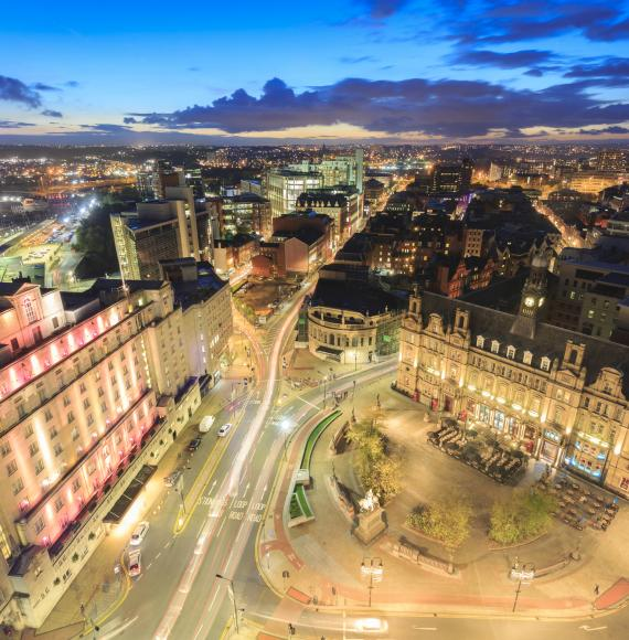 Night time shot of Leeds City Centre with a long exposure applied.