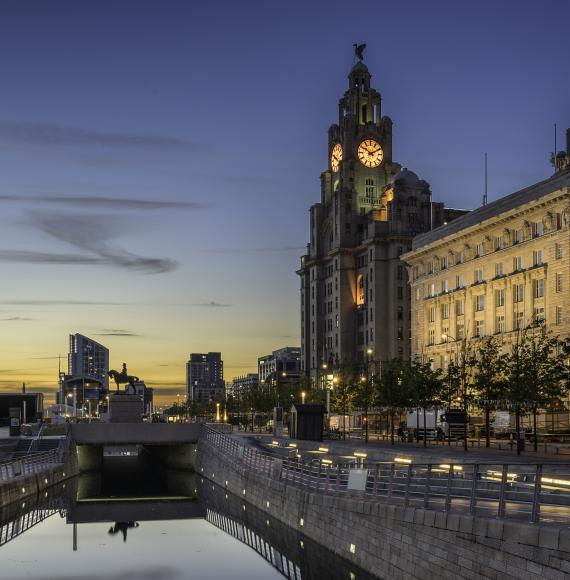 Evening shot of Liverpool