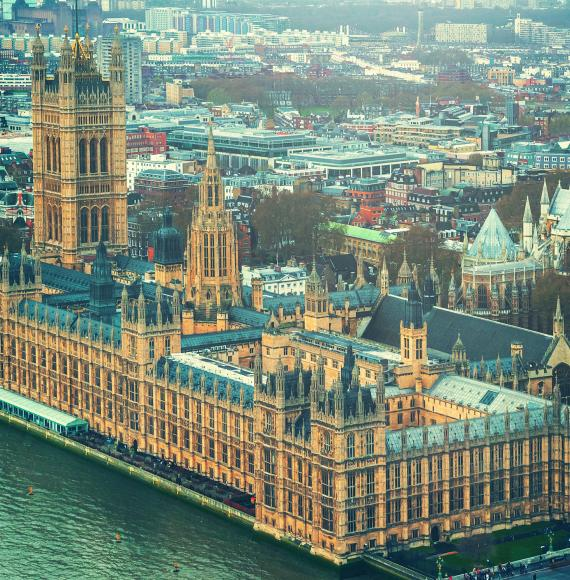Big Ben and the House of Parliament in London taken from a drone.