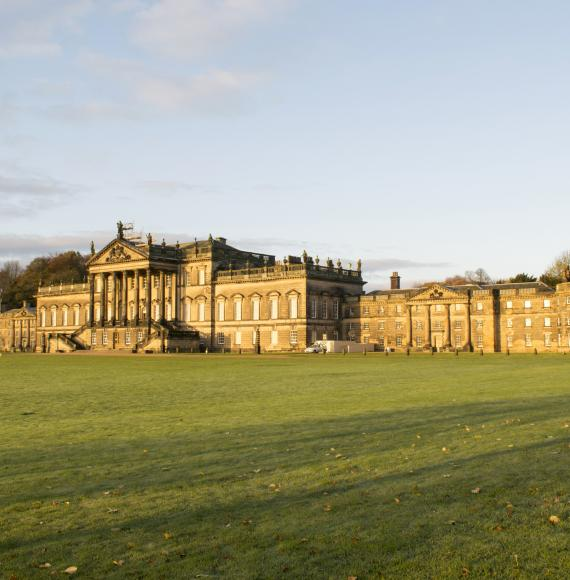 Wentworth Woodhouse pictured at golden hour.