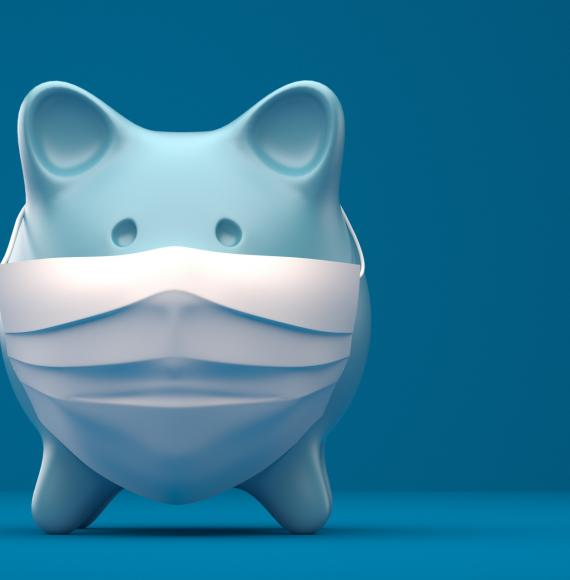 Piggy bank wearing a surgical mask.