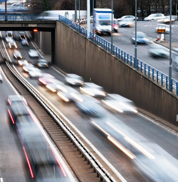 Urban motorway traffic with motion blur