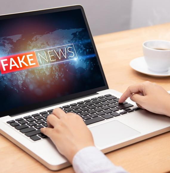 Man looks at fake news on his computer