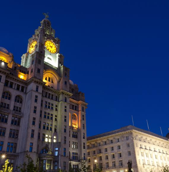 Royal Liver Building at night, Liverpool.