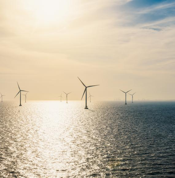Offshore wind farm generating energy for UK.