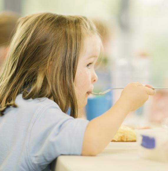 Child eating school dinner