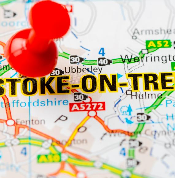Map with a pin in Stoke-on-Trent