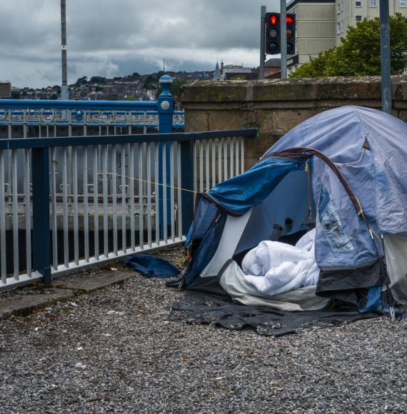 Tent sits in town centre for homeless man.