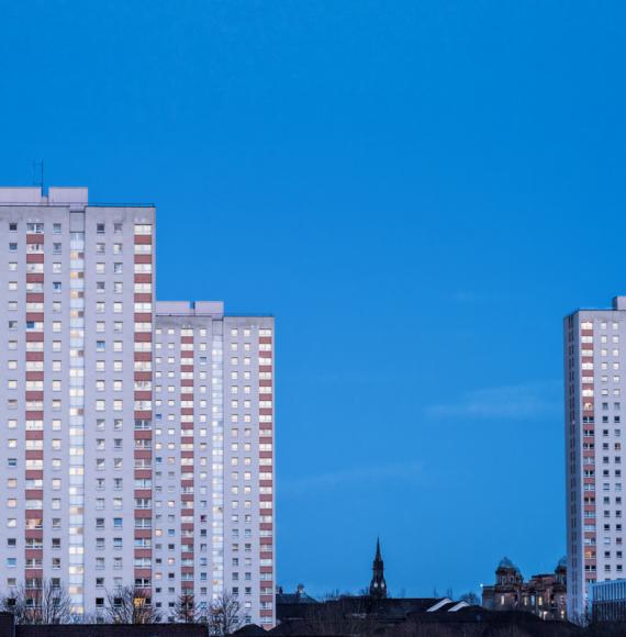High rise tower blocks in the skyline.