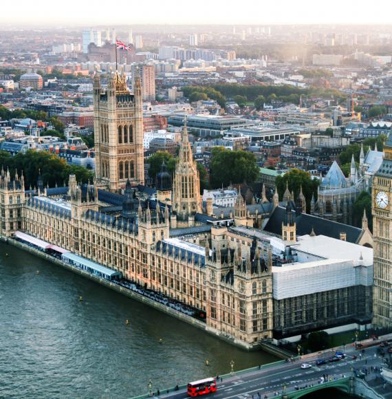 Birds eye view of Houses of Parliament.
