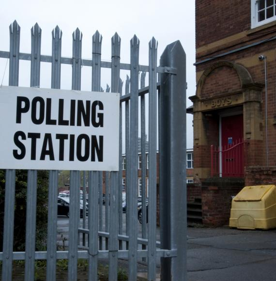 Polling station on election day.