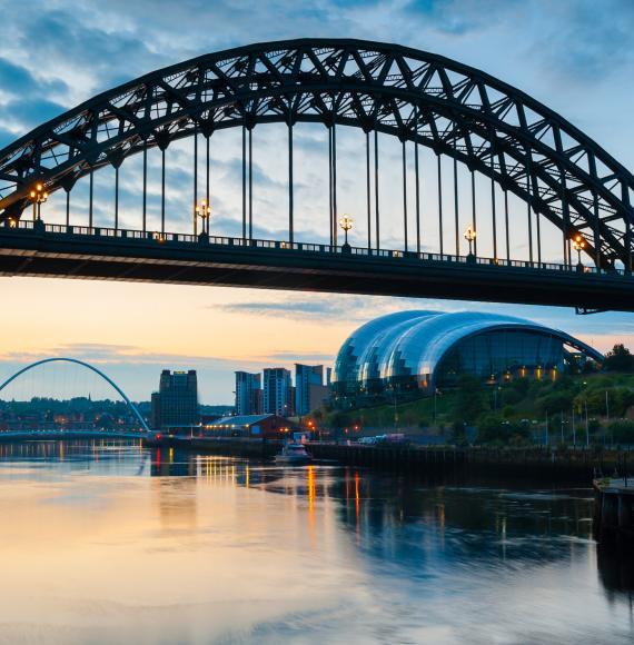 Shot of the Tyne Bridge and Sage in Newcastle