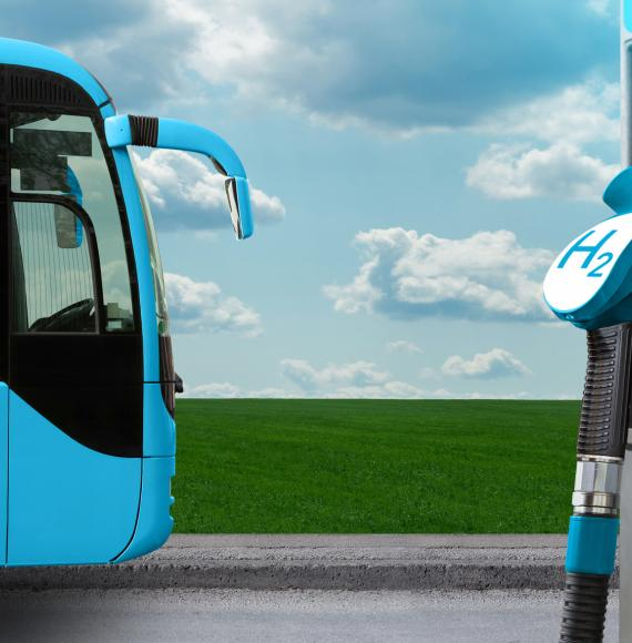 Hydrogen bus and charging point